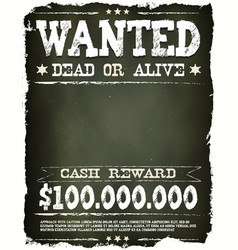 Wanted vintage western poster on chalkboard vector