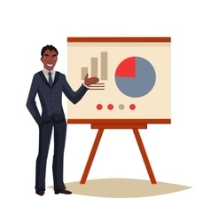 Businessman giving presentation using a board vector