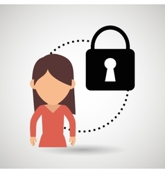 Character padlock secure protection vector