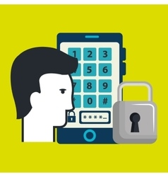 Smartphone padlock silhouette password vector