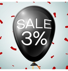 Black baloon with text sale 3 percent discounts vector