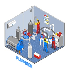 3d plumber people composition vector