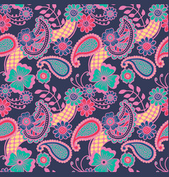 paisley seamless colorful pattern vector image