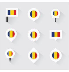 Romania flag and pins for infographic and map vector