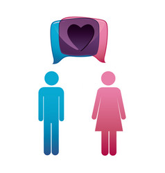 Pictogram male and female with square dialog box vector