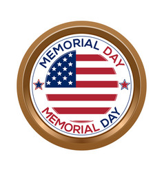 Memorial day button isolated on white background vector