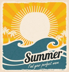 Retro summer holiday poster with sea and waves vector