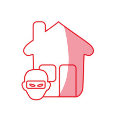 Silhouette house with thief danger symbol vector