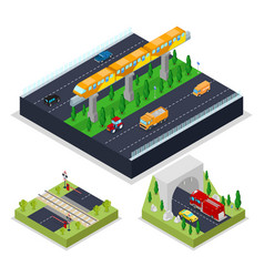 Isometric urban road with modern railway vector
