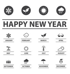 new year and weather icons vector image