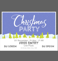 Christmas festival and party template snow tree vector