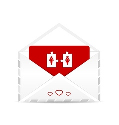 Open envelope with valentine postcard vector