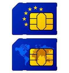 Europe flag world map sim card vector