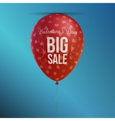 Big sale valentines day red balloon banner vector