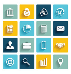 Set of 16 flat business icons vector