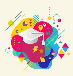 Academic hat on abstract colorful spotted vector