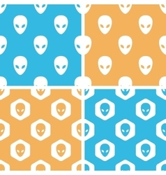Alien pattern set colored vector