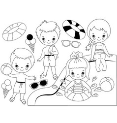 Black and White Kids Pool Party Set vector image