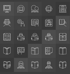 book reading icons vector image vector image