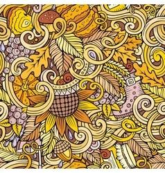Cartoon cute doodles autumn seamless pattern vector image vector image