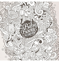 Cartoon cute doodles hand drawn Baby vector image