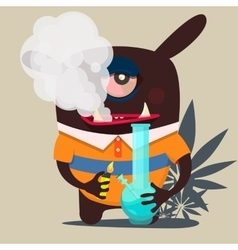 cute monster graphic smokes marijuana vector image vector image