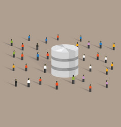 Database big data server web hosting people crowd vector