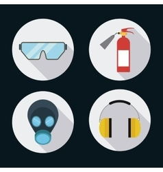 Extinguisher mask glasses headphone icon vector