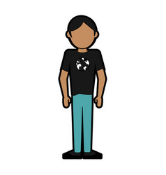 Faceless man wearing t shirt with planet earth on vector