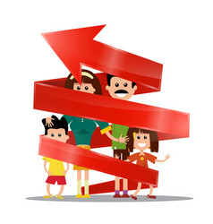 Family inside red arrow future planning concept vector