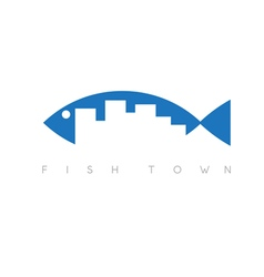 fish town concept design template vector image vector image