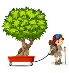 Girl pulling wagon with green tree vector