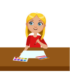 Girl ready to start painting elementary school vector