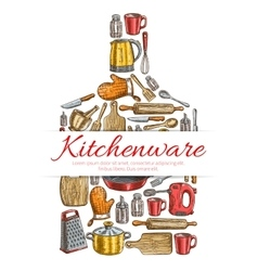 Kitchenware sign in shape of cutting board vector