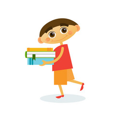 Little boy walk holding stack of books reading vector