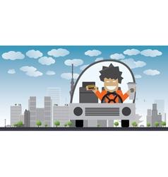 man eating in car in tokyo vector image