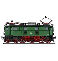 Old green electric locomotive vector