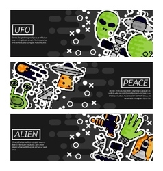 Set of Horizontal Banners about UFO vector image vector image