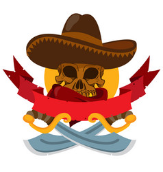 Skull in a sombrero with two machetes banner on vector