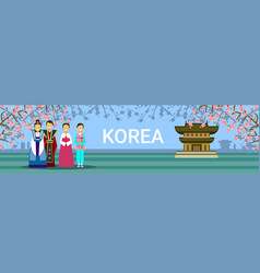 south korea travel destination banner korean vector image