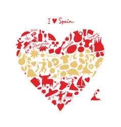 spain love art heart shape sketch for your vector image vector image