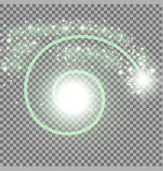 Spiral with particle dust green color vector