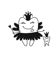 Tooth fairy sketch for your design vector