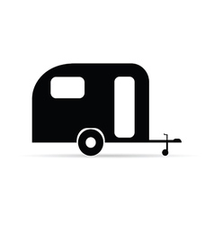 trailer icon camper in black color vector image vector image