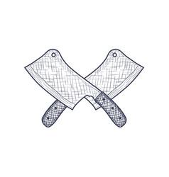 vintage cleaver butcher crossed knife engraved vector image