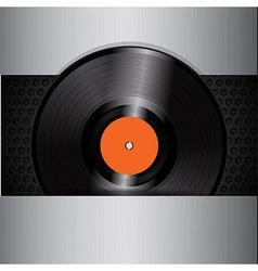 vinyl record on brushed metallic background vector image