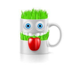 White mug of two parts with two eyes teeth and vector