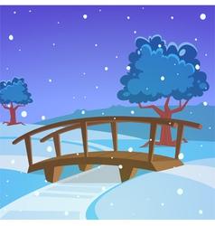 Winter landscape with bridge vector