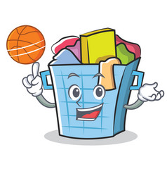 With basketball laundry basket character cartoon vector