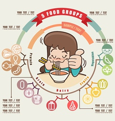 Young girl enjoying eating her noodle vector image vector image